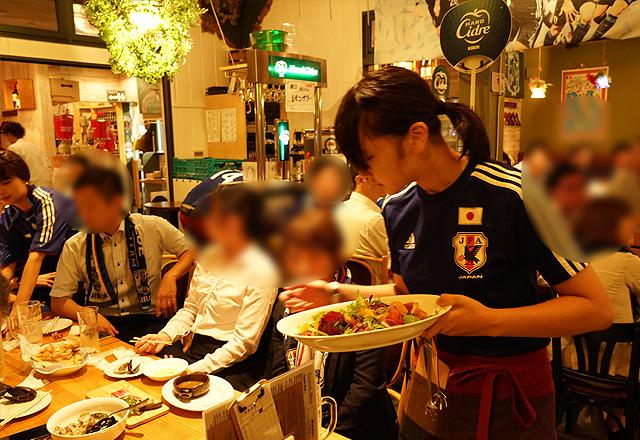 つくば市研究学園でサッカー日本代表戦のスポーツ観戦