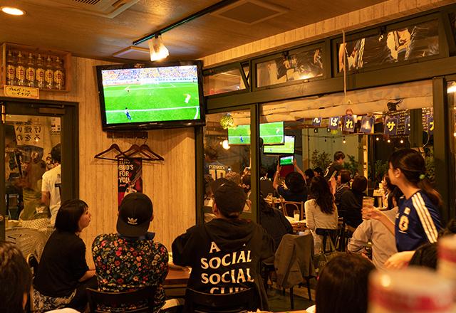 つくば研究学園パブリックビューイングでサッカー日本代表応援観戦。